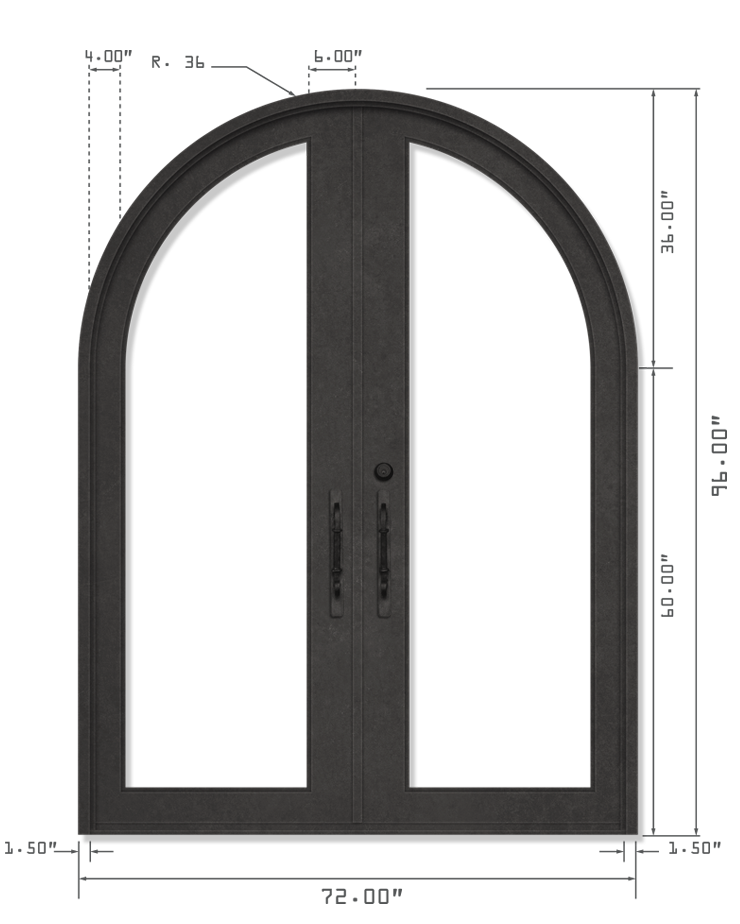 DOUBLE DOOR ROUND TOP
